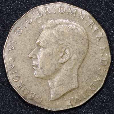 1944 George VI Brass Threepence Underweight Flan Obv.jpg