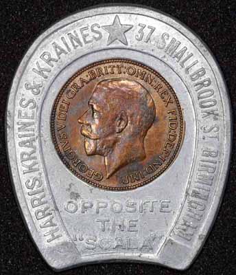 1924 George V Encased Farthing Harris Kraines & Kraines Obv 400.jpg