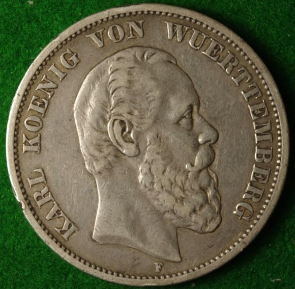 Wurtemburg 1875 5M 1 Red.JPG