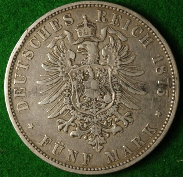 Wurtemburg 1875 5M 2 Red.JPG