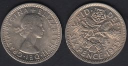 Sixpence 1955 UNC-Ch.UNC