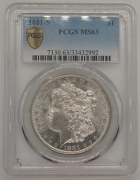 1881S US Dollar PCGS MS63