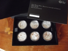 2015 WWI Set of 6 Silver Crown £5 Coins