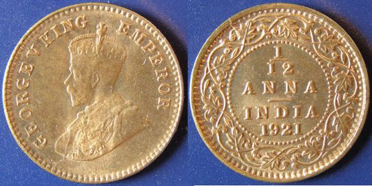 India Twelfth Anna 1921 UNC to Ch. UNC