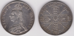 Double Florin 1889 VF Broken I