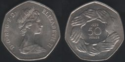 50p Fifty Pence 1973 EEC UNC