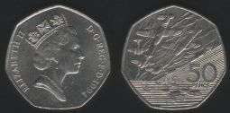 50p Fifty Pence 1994 D-Day Ch.UNC