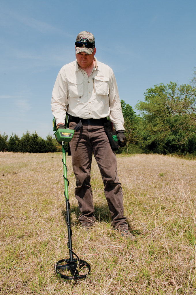Metal Detecting a field