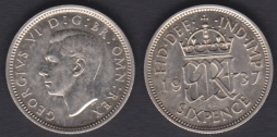 Sixpence 1937 UNC-Ch.UNC