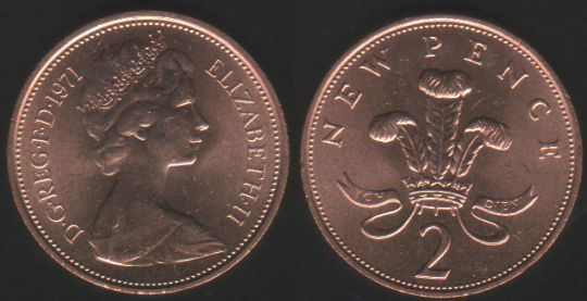 02p Two Pence 1971 Ch.UNC